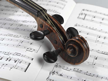 violin head on partition Stock Photo - 17388396