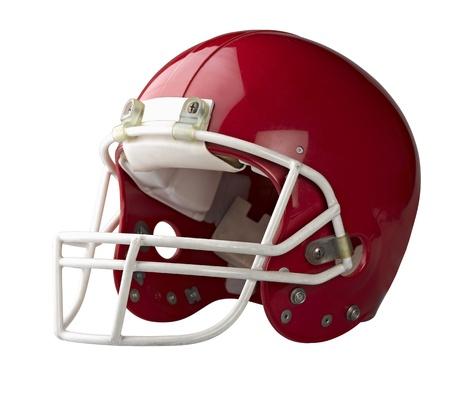 詳細なクリッピング パスと白い背景で隔離赤いアメリカン フットボールのヘルメット。