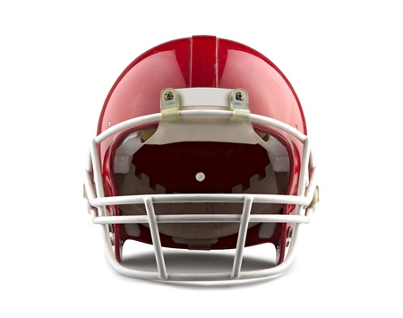 football: Red American football helmet isolated on a white background with detailed clipping path.