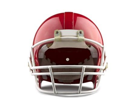 Red Football Helm auf einem weißen Hintergrund mit detaillierten Beschneidungspfad isoliert.