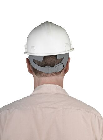 Back of worker man with white constructor helmet isolated Stock Photo - 17389162