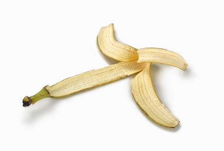 banana peel: skin banana on white background with shadow