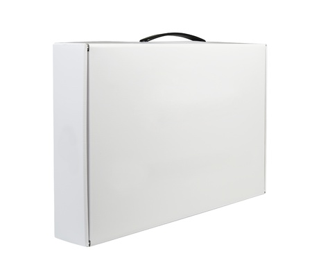 Carton White Blank Package Box With Handle  Briefcase, Case, Folder, Portfolio Case Isolated On White Background  Ready For Your Design  Stock Photo