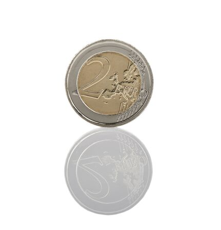 2 Euro Coin Reverse with reflection Isolated photo
