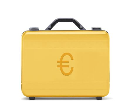 beautiful golden briefcase representing euro money and business  clipping path  photo