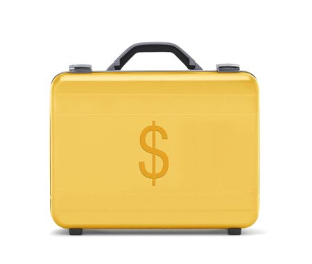 beautiful golden briefcase representing dollar money and business clipping path  photo