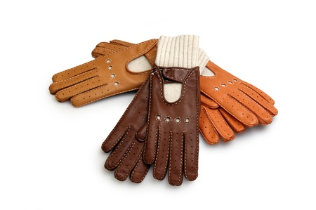 furskin: race leather gloves isolated on white