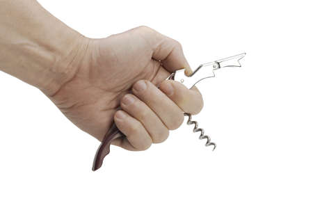 hand holds corkscrew isolated on a white background Stock Photo - 19262827