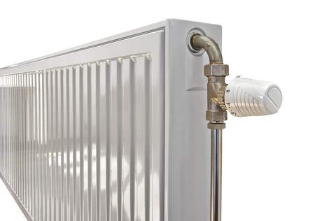 optimal: White radiator in an appartment  Stock Photo