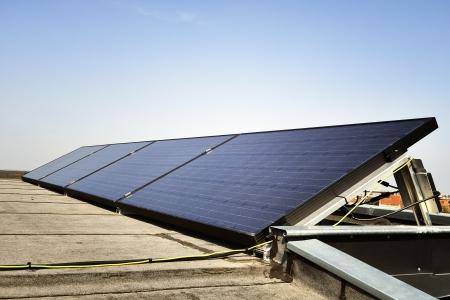 Solar panel against blue sky Standard-Bild