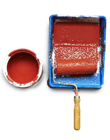 Renovations  Painting tools and an open can of paint  clipping path photo