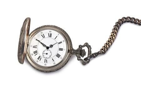 アンティーク懐中時計の孤立した白い背景があります。