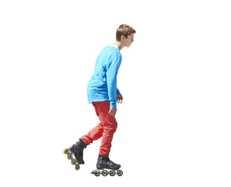 16s: Portrait a teenager on rollers isolated on white background