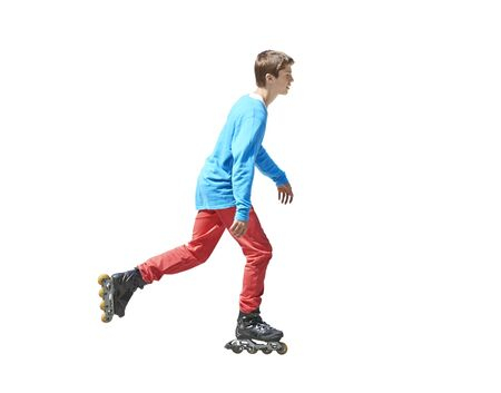 16s: Portrait a teenager on rollers isolated on white background - clipping path