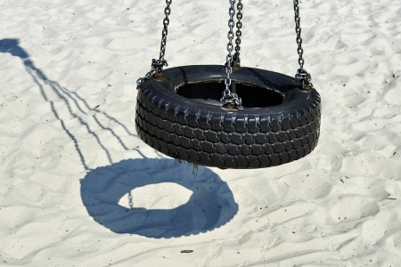 Tire swing hanging in park photo