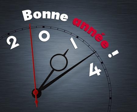bonne: Clock with words Bonne annee year 2014