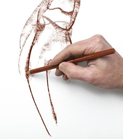 pencil sketch: Designer at work
