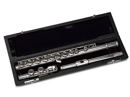 musicality: Flute in box Isolated on White ( clipping path )