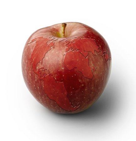 healthy path: Red apple with world map, isolated with clipping path