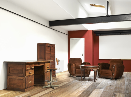 interior wide loft, office and wooden floor photo