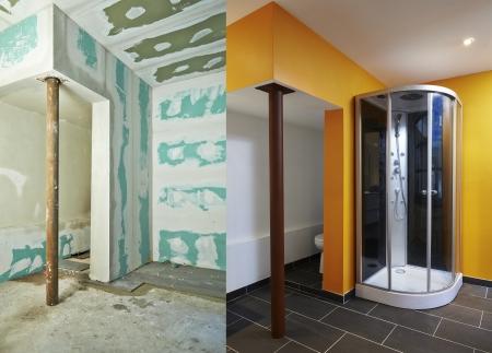 前に、と後の乾式壁石膏ボード浴室の建設