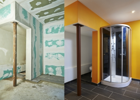 Construction of Drywall-Plasterboard bathroom Before and after Stock Photo