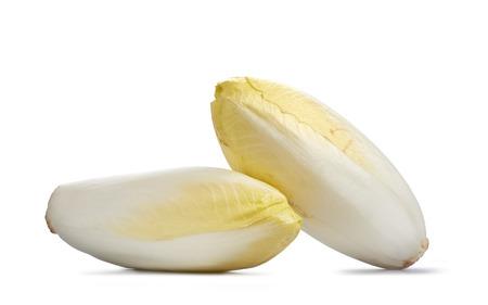 Zwei frische Chicorée auf weißem Hintergrund Lizenzfreie Bilder