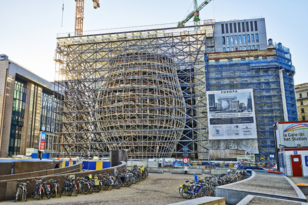 BRUSSELS, BELGIUM - DECEMBER 10  The Europa building construction on december 10, 2013 in Brussels  Europa building is the new headquarters of the European Council and the Council of the EU