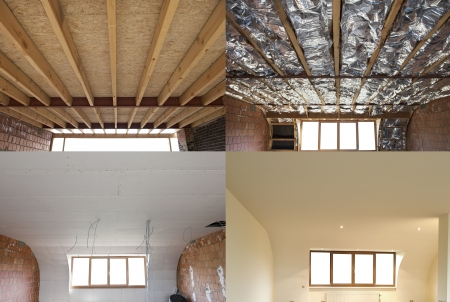 renovation property: construction of the wooden frame of a roofFibreglass insulation installed in the sloping ceiling of a house Construction of Drywall-Plasterboard Before and after