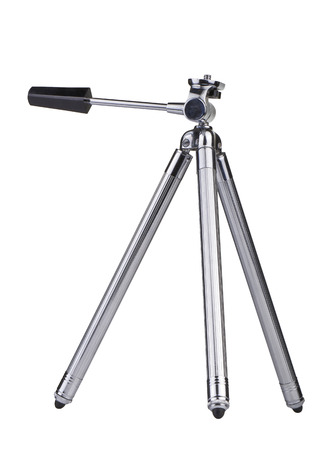 tiny lenses: Vintage little Photo tripod isolated on white background from side