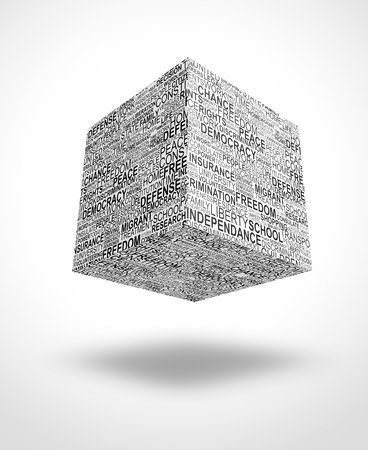 rightness: floating cube with human rights words