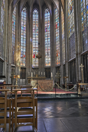 nave: BRUSSELS, BELGIUM-MARCH 14:  Nave of gothic church Notre Dame du Sablon on March 14, 2014 in Brussels. The church is known from 1304. Editorial