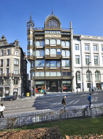 musique: BRUSSELS, BELGIUM-MARCH 14:Musee des Instruments de Musique Belgium in Brussels on March 14, 2014. Old England former shops is one of the famous Brussels building built in the Art Nouveau style.