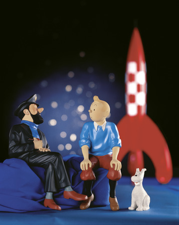 BRUSSELS, BELGIUM-NOVEMBER 28: figurines shows the cartoon character, Captain Haddock ,Tintin and his dog Snowy, scanned film shoot in studio on November 28, 2003 in Brussels.