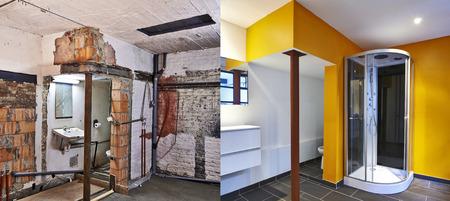 Ristrutturazione di un bagno Prima e dopo in formato orizzontale Archivio Fotografico - 26811877