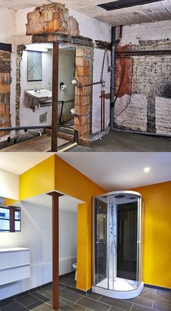 垂直方向の形式で浴室の前に、と後の改修 写真素材