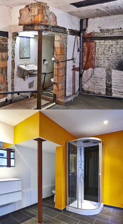Renovation of a bathroom Before and after in vertical format photo