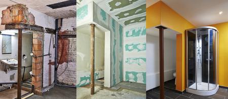 tablaroca: renovaci�n y construcci�n de Yeso-cart�n yeso en un cuarto de ba�o