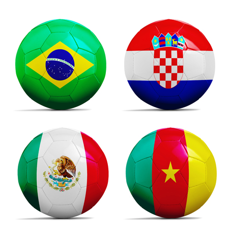 Four soccer balls with  flags