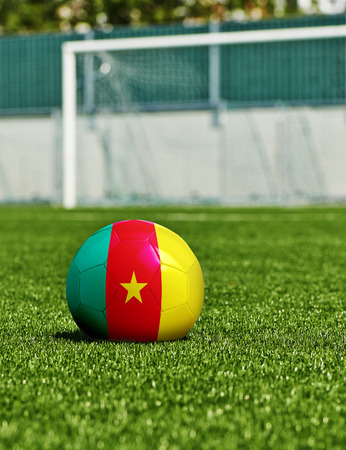 Soccer Ball with Cameroon  Flag on the grass in stadium photo