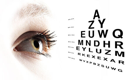 Blue eye with test vision chart close up photo