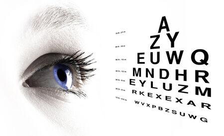 Blaues Auge mit Test-Vision close up Lizenzfreie Bilder