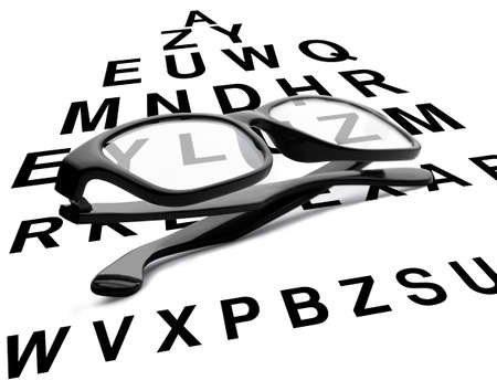 Black reading glasses with eye chart. Clipping path is included photo