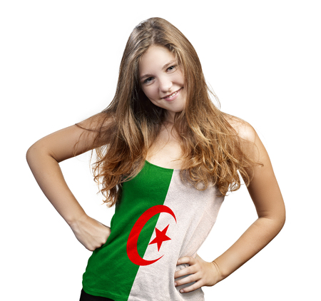 Young Woman with long curly hair and a t-shirt of Algeria on a white background photo