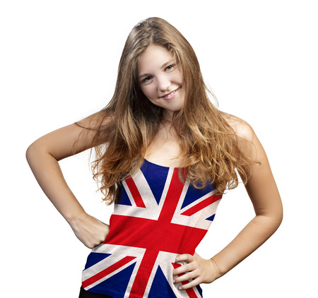 Young Woman with long curly hair and a t-shirt of England on a white background photo