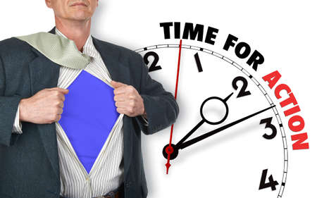 against the clock: Businessman showing superhero suit underneath his shirt standing against clock with time for action - path for the shirt Stock Photo