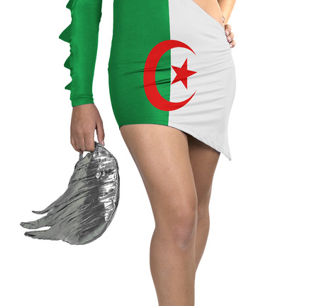 Futuristic young woman with flag from Algeria on her dress on white background photo