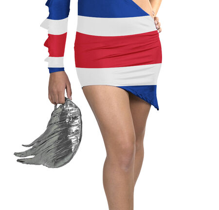 Futuristic young woman with flag from Costa Rica on her dress on white background photo