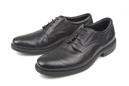 shoestrings: Pair of black male classic shoes on white background