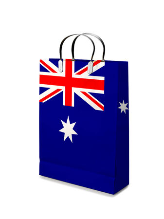 retail business: Shopping bag with Australia  flag. Retail business on white background  Stock Photo